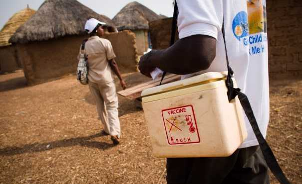 Vaccine cold box in a village in Ghana
