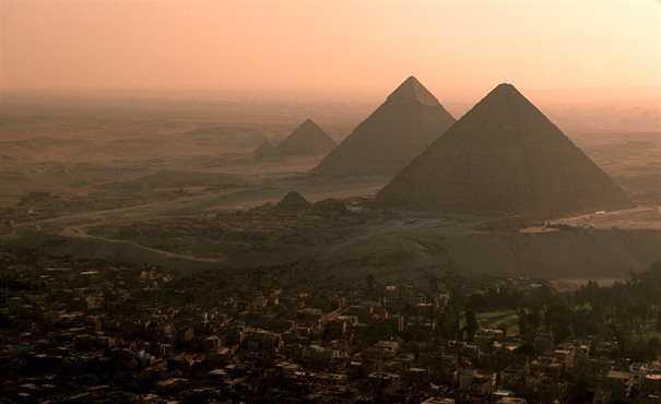 Landscape of pyramids at dusk