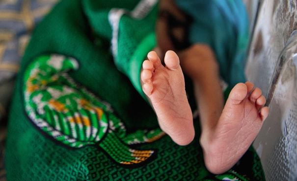 a new born baby's feet