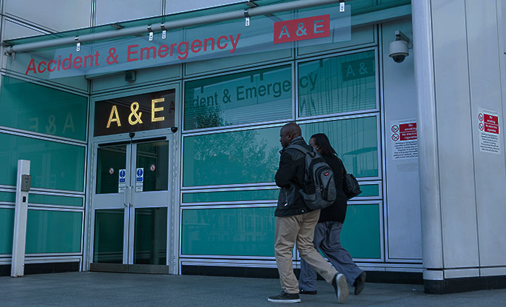 People arriving at A&E
