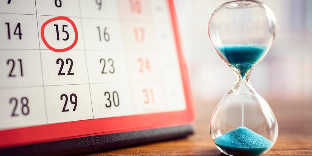Calendar with 15th January circled